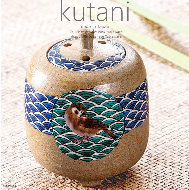九谷焼 3.8号香炉 色絵小紋雀 和食器 日本製 ギフト おうち ごはん うつわ 陶器