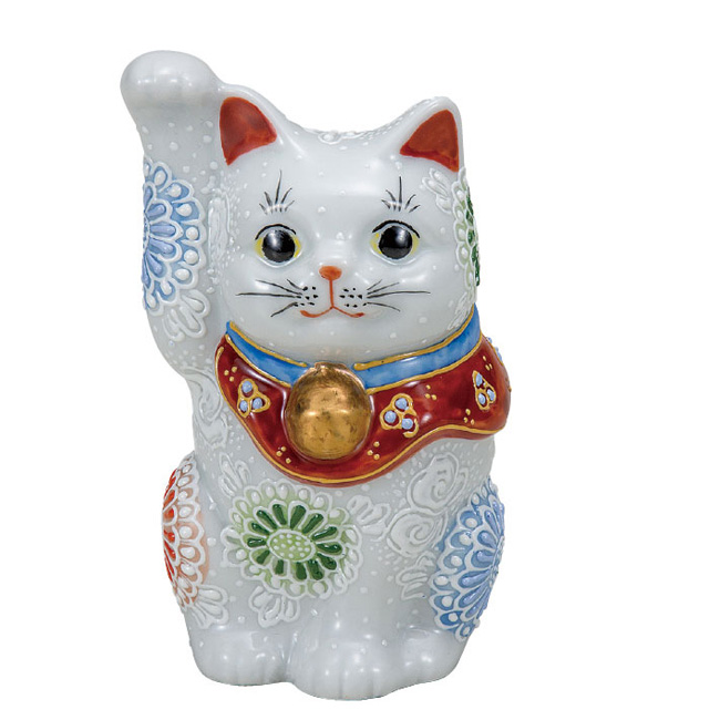 九谷焼 4号招き猫 白盛 和食器 日本製 ギフト おうち ごはん うつわ 陶器