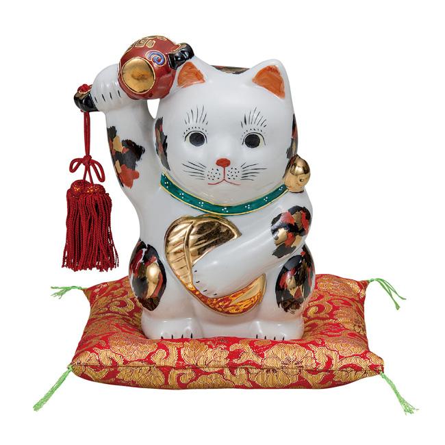 九谷焼 6号小槌上げ小判招き猫 三毛 和食器 日本製 ギフト おうち ごはん うつわ 陶器