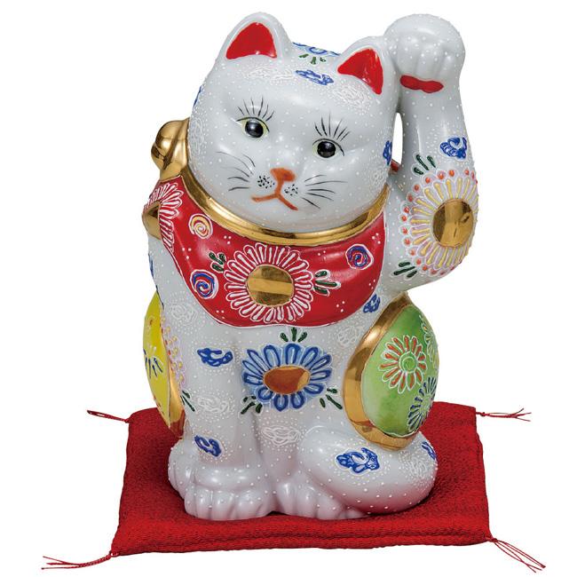 九谷焼 6.5号招き猫 白盛 和食器 日本製 ギフト おうち ごはん うつわ 陶器