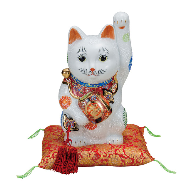 九谷焼 9号小槌持招き猫 白盛 和食器 日本製 ギフト おうち ごはん うつわ 陶器
