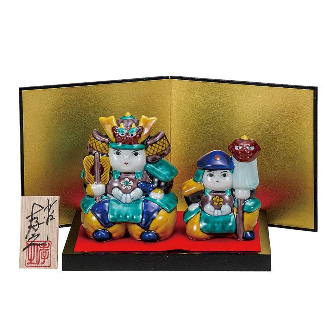 九谷焼 3.5号武者人形セット 色絵青九谷 和食器 日本製 ギフト おうち ごはん うつわ 陶器