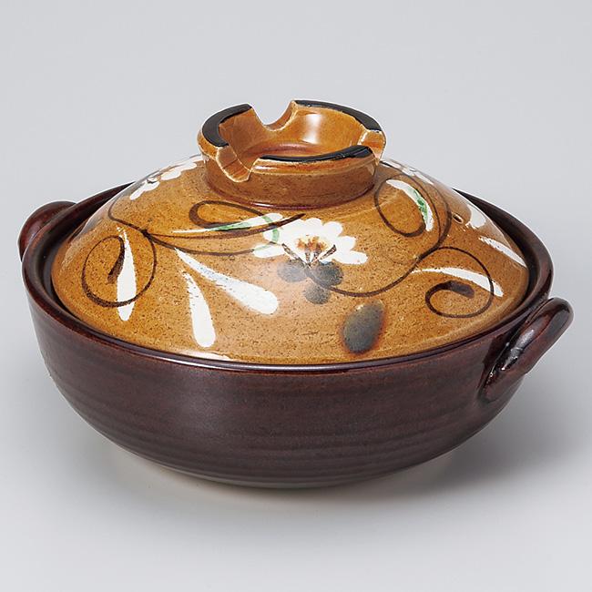 和食器 土鍋 万古焼 黄彩草花9.0土鍋 お鍋 食器 おうち 直火