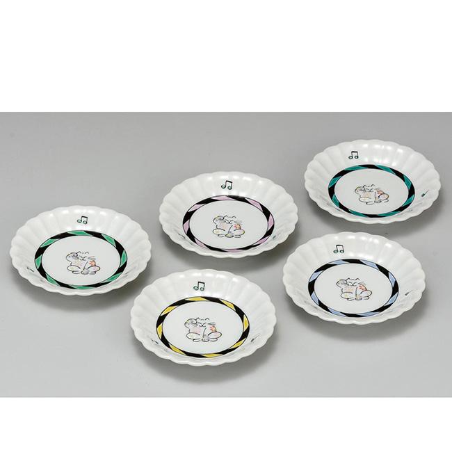 九谷焼 3.5号皿揃 招き猫 5個セット 5枚 食器セット 日本製 ギフト うつわ 陶磁器