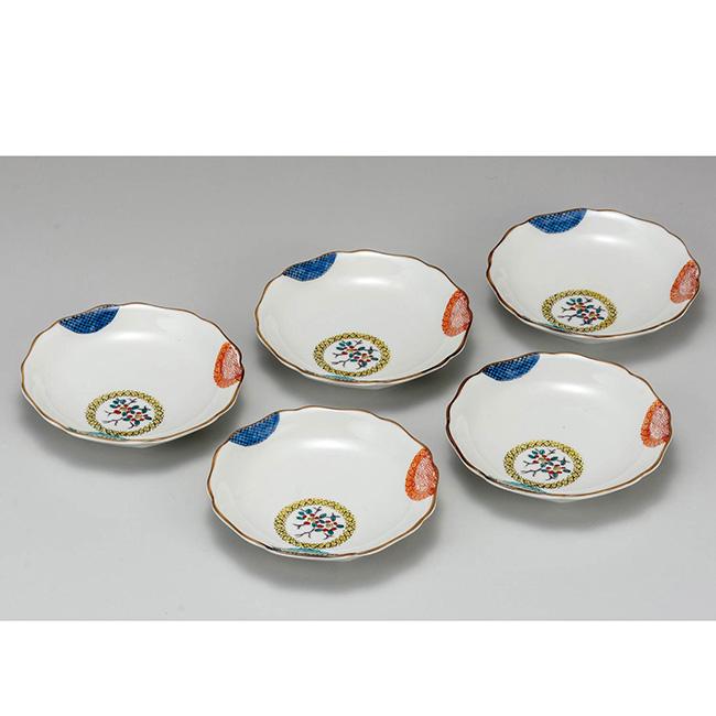 九谷焼 4.2号皿揃 色絵丸紋 5個セット 5枚 食器セット 日本製 ギフト うつわ 陶磁器