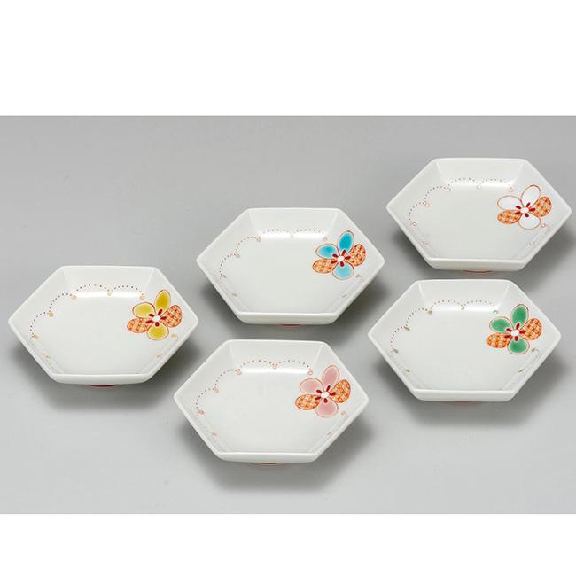 九谷焼 3.2号皿揃 花紋 5個セット 5枚 食器セット 日本製 ギフト うつわ 陶磁器