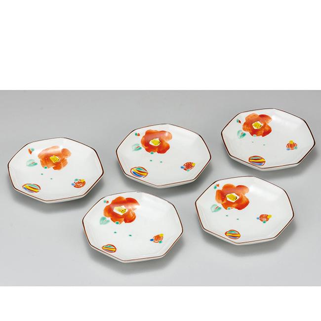 九谷焼 4.2号皿揃 風船と椿 5個セット 5枚 食器セット 日本製 ギフト うつわ 陶磁器