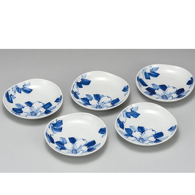 九谷焼 5.5号皿揃 染付山茶花 5個セット 5枚 食器セット 日本製 ギフト うつわ 陶磁器