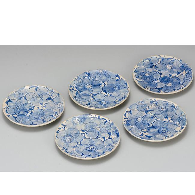 九谷焼 5.2号皿揃 花唐草 5個セット 5枚 食器セット 日本製 ギフト うつわ 陶磁器