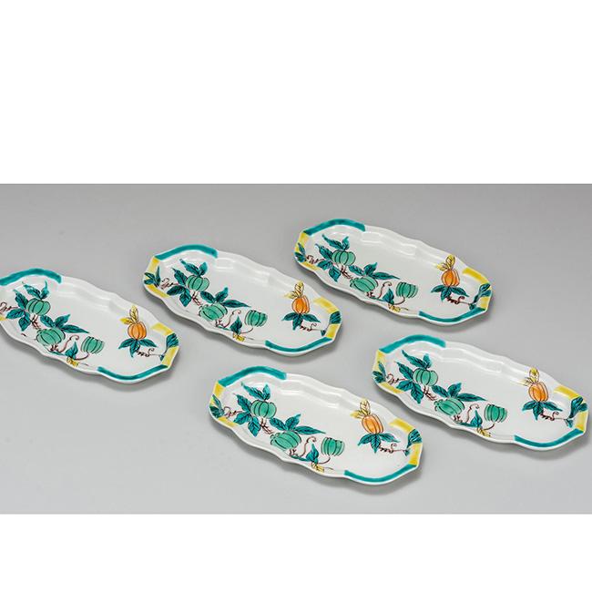 九谷焼 7号皿揃 からす瓜 5個セット 5枚 食器セット 日本製 ギフト うつわ 陶磁器