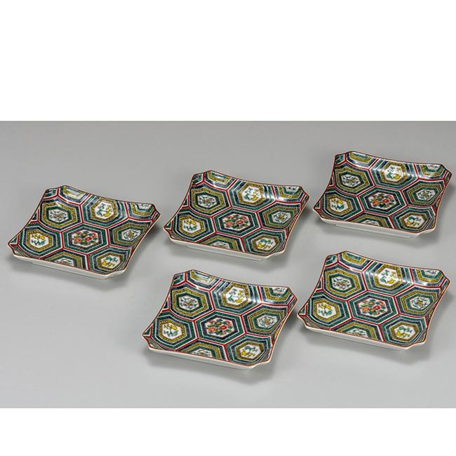 九谷焼 4.2号皿揃 小紋 5個セット 5枚 食器セット 日本製 ギフト うつわ 陶磁器