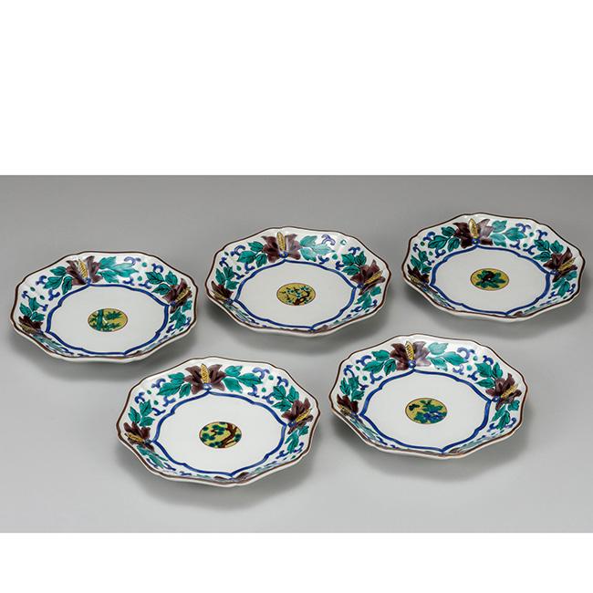 九谷焼 6.5号皿揃 牡丹 5個セット 5枚 食器セット 日本製 ギフト うつわ 陶磁器