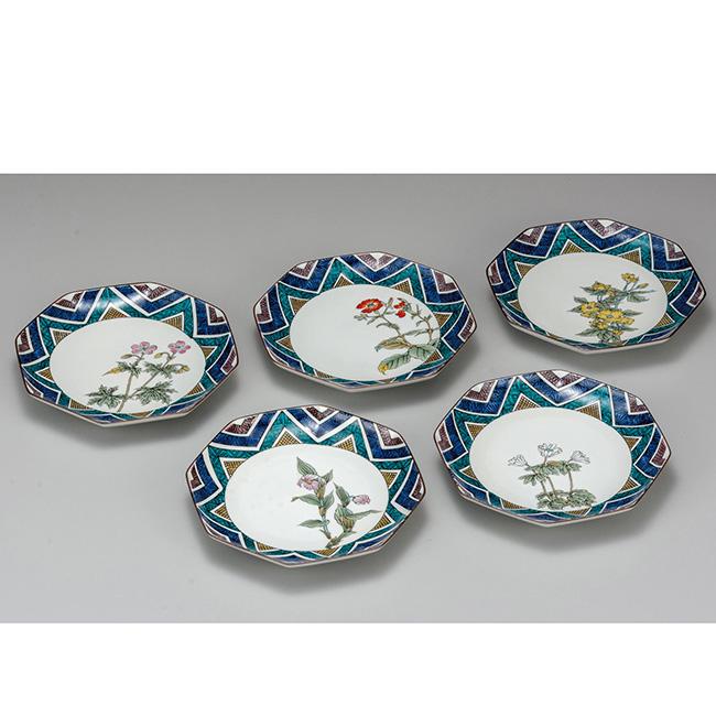 九谷焼 6.5号皿揃 山野草 5個セット 5枚 食器セット 日本製 ギフト うつわ 陶磁器