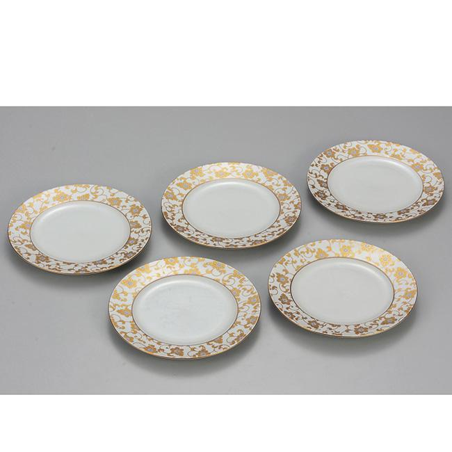 九谷焼 6.5号皿揃 白粒鉄仙 5個セット 5枚 食器セット 日本製 ギフト うつわ 陶磁器