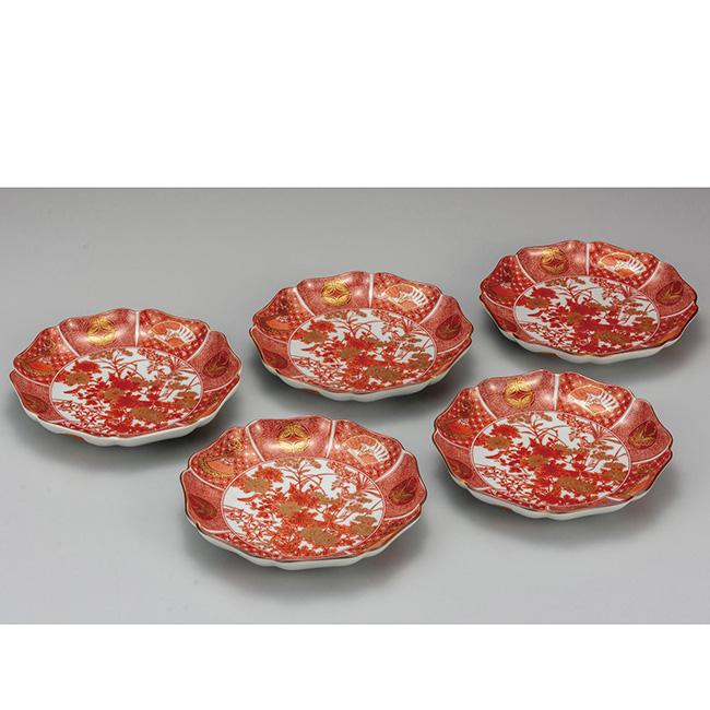 九谷焼 7号皿揃 飯田屋 5個セット 5枚 食器セット 日本製 ギフト うつわ 陶磁器