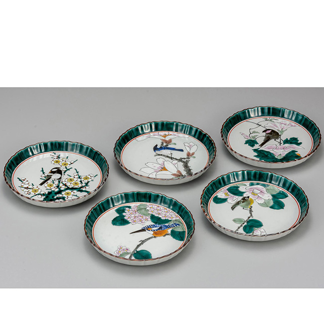 九谷焼 6号皿揃 花鳥絵変り 5個セット 5枚 食器セット 日本製 ギフト うつわ 陶磁器