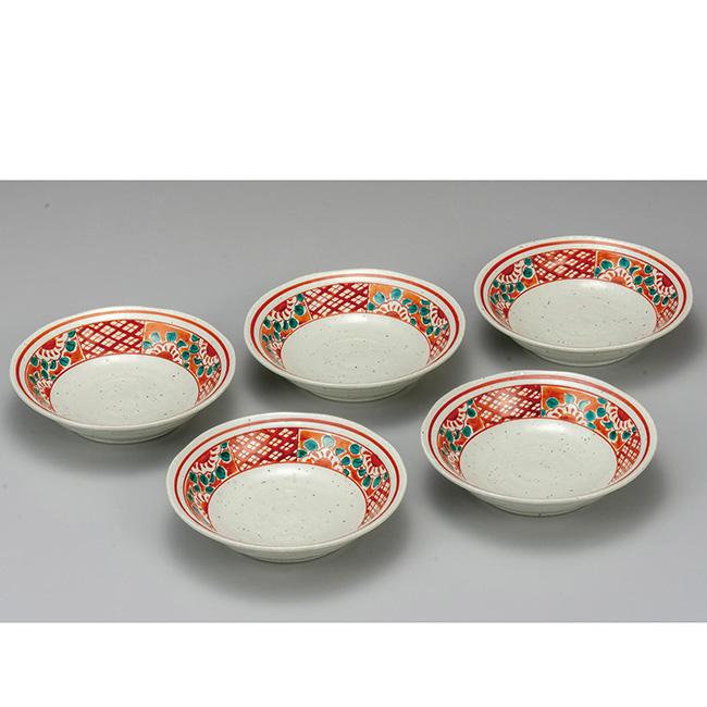 九谷焼 5.5号小鉢揃 赤絵 5個セット 食器セット 日本製 ギフト うつわ 陶磁器