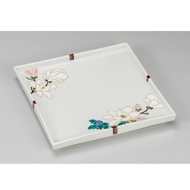 九谷焼 8号盛皿 花紋 日本製 ギフト うつわ 陶磁器