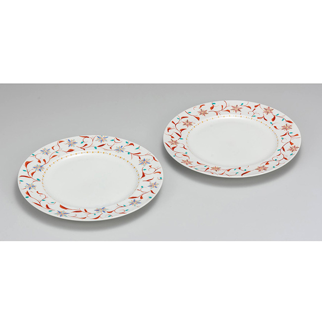 九谷焼 8.5号ペアプレート 花唐草 2個セット 2枚 食器セット 日本製 ギフト うつわ 陶磁器