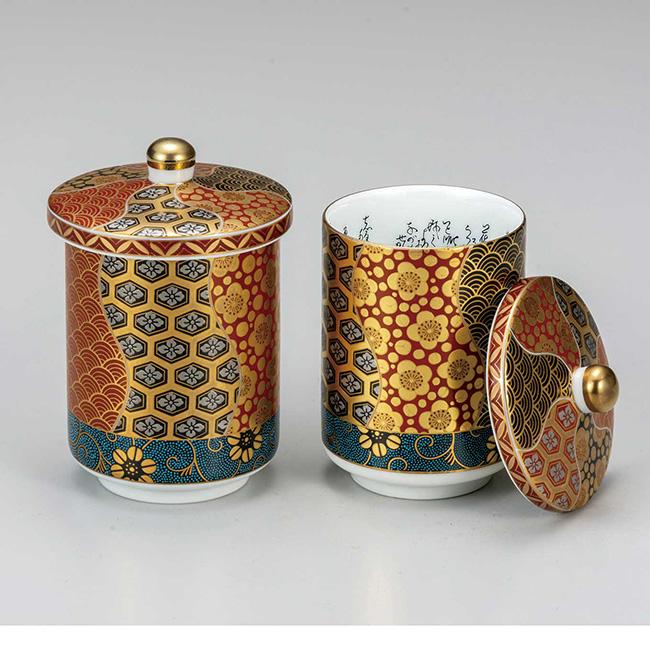九谷焼 蓋付組湯呑 割取小紋 2個セット 食器セット ペア 日本製 ギフト うつわ 陶磁器