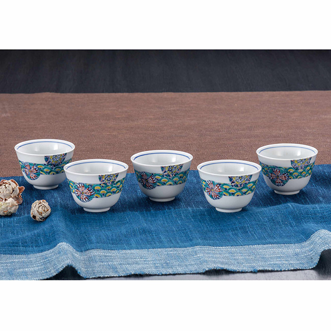 九谷焼 汲出揃 丸小紋 5個セット 食器セット 煎茶碗 日本製 ギフト うつわ 陶磁器