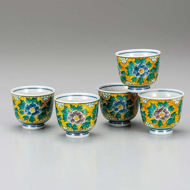 九谷焼 汲出揃 吉田屋牡丹 5個セット 食器セット 煎茶碗 日本製 ギフト うつわ 陶磁器