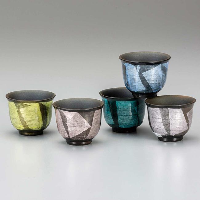 九谷焼 汲出揃 銀彩 5個セット 食器セット 煎茶碗 日本製 ギフト うつわ 陶磁器