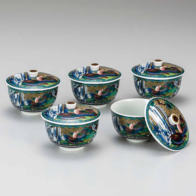 九谷焼 蓋付汲出揃 古九谷花鳥 5個セット 食器セット 煎茶碗 日本製 ギフト うつわ 陶磁器