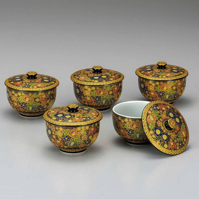 九谷焼 蓋付汲出揃 極上花詰 5個セット 食器セット 煎茶碗 日本製 ギフト うつわ 陶磁器