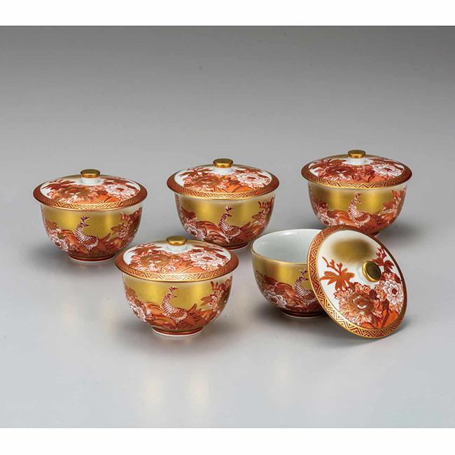 九谷焼 蓋付汲出揃 本金赤牡丹孔雀 5個セット 食器セット 煎茶碗 日本製 ギフト うつわ 陶磁器