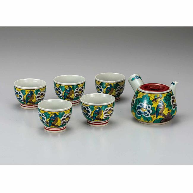 九谷焼 茶器 吉田屋牡丹 6個セット 食器セット 煎茶 湯呑 ポット 急須 日本製 ギフト うつわ 陶磁器
