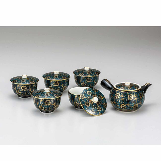 九谷焼 蓋付茶器 青粒鉄仙 6個セット 食器セット 煎茶 湯呑 ポット 急須 日本製 ギフト うつわ 陶磁器