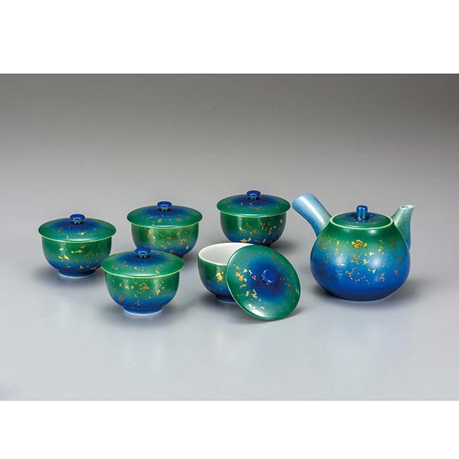 九谷焼 蓋付茶器 金箔釉彩 6個セット 食器セット 煎茶 湯呑 ポット 急須 日本製 ギフト うつわ 陶磁器