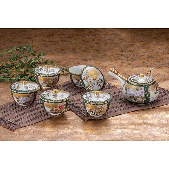 九谷焼 蓋付茶器 本金割取花鳥 6個セット 食器セット 煎茶 湯呑 ポット 急須 日本製 ギフト うつわ 陶磁器
