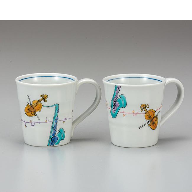 九谷焼 ペアマグカップ メロディー 2個セット 食器セット ペア 日本製 ギフト うつわ 陶磁器
