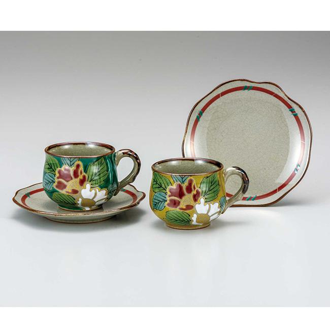 九谷焼 ペアコーヒー 色絵山茶花 2個セット 2客 カップソーサー 碗皿 珈琲 紅茶 食器セット 日本製 ギフト うつわ 陶磁器