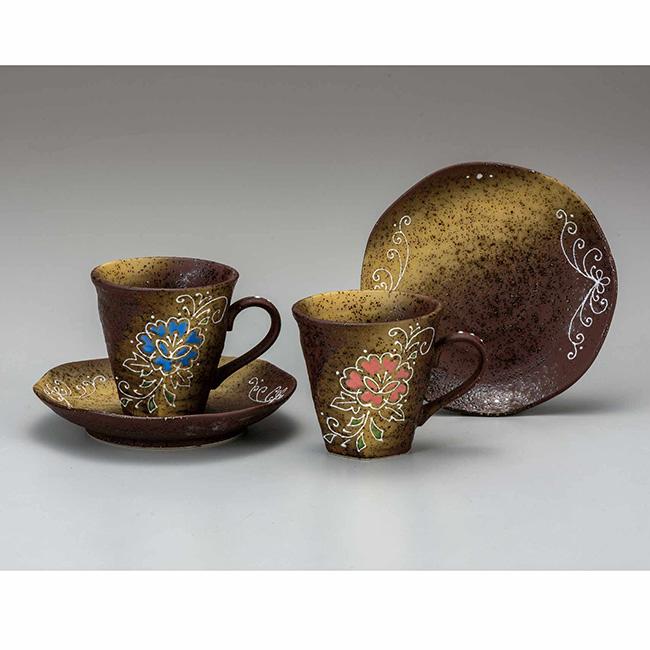 九谷焼 ペアコーヒー 花文 2個セット 2客 カップソーサー 碗皿 珈琲 紅茶 食器セット 日本製 ギフト うつわ 陶磁器