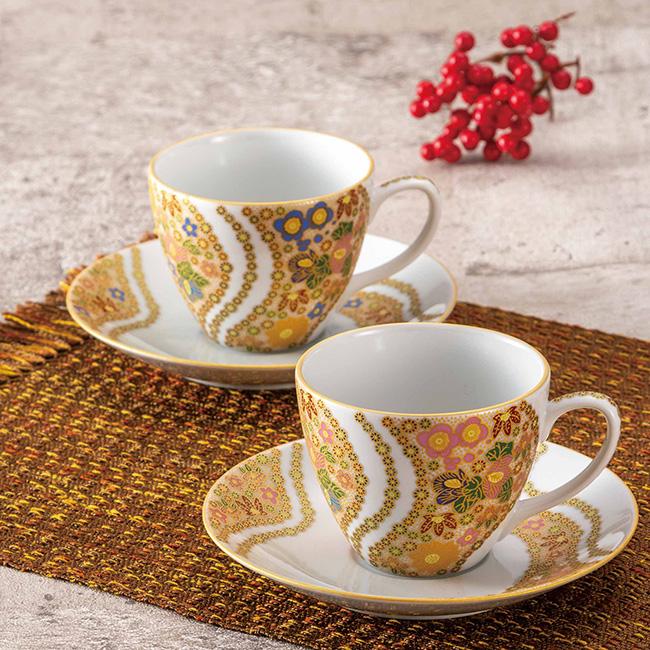 九谷焼 ペアコーヒー 花詰 2個セット 2客 カップソーサー 碗皿 珈琲 紅茶 食器セット 日本製 ギフト うつわ 陶磁器