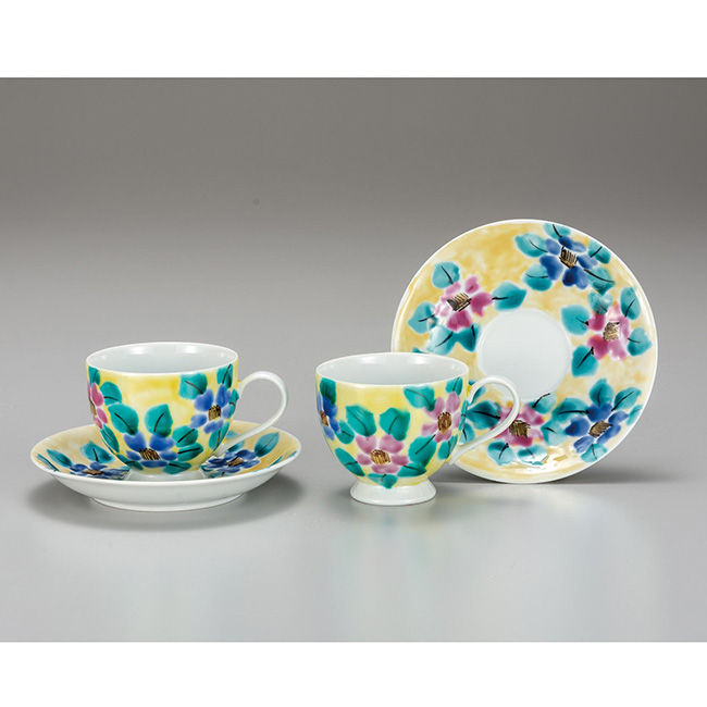 九谷焼 ペアコーヒー 色絵花文 2個セット 2客 カップソーサー 碗皿 珈琲 紅茶 食器セット 日本製 ギフト うつわ 陶磁器