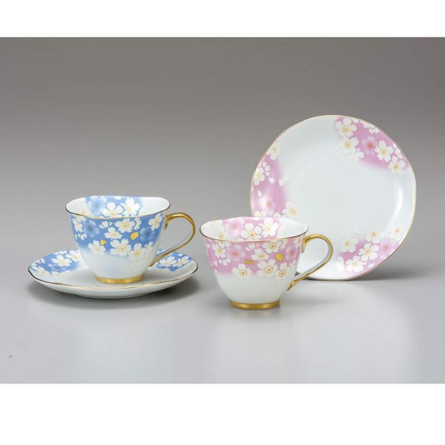 九谷焼 ペアコーヒー 金箔花の舞 2個セット 2客 カップソーサー 碗皿 珈琲 紅茶 食器セット 日本製 ギフト うつわ 陶磁器