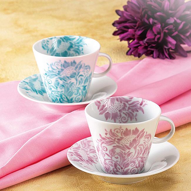 九谷焼 ペアコーヒー 向日葵紋様 2個セット 2客 カップソーサー 碗皿 珈琲 紅茶 食器セット 日本製 ギフト うつわ 陶磁器