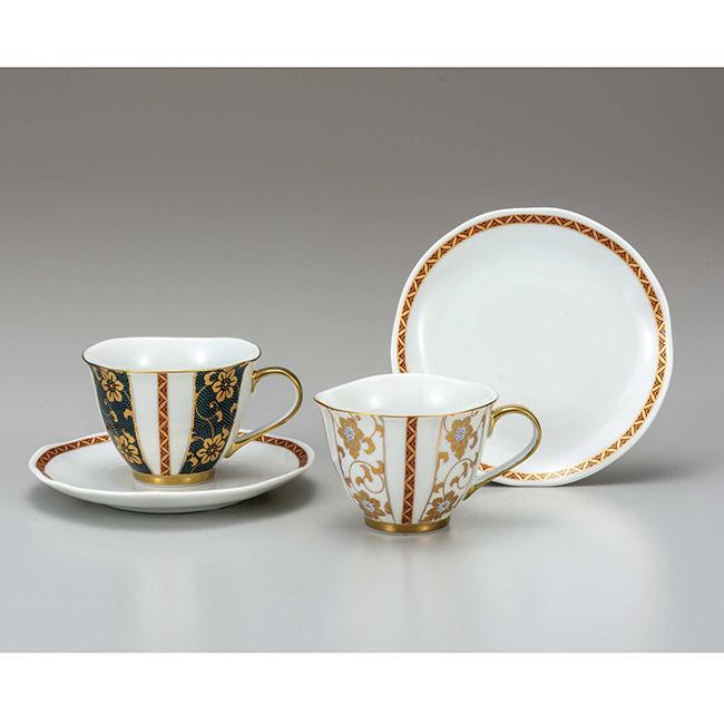 九谷焼 ペアコーヒー 鉄仙文 2個セット 2客 カップソーサー 碗皿 珈琲 紅茶 食器セット 日本製 ギフト うつわ 陶磁器