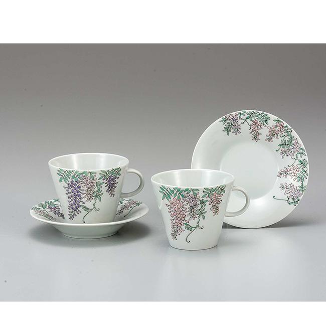 九谷焼 ペアコーヒー 藤紋様 2個セット 2客 カップソーサー 碗皿 珈琲 紅茶 食器セット 日本製 ギフト うつわ 陶磁器