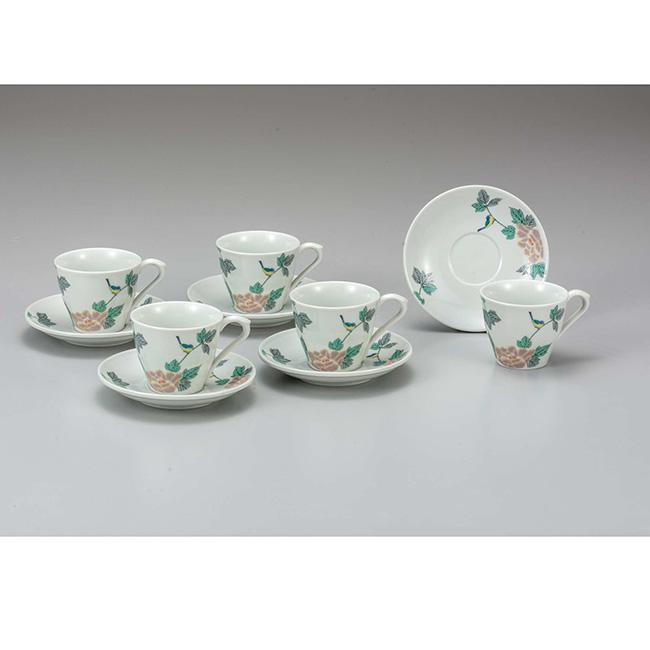 九谷焼 コーヒーセット 小鳥 5個セット 5客 カップ ソーサー 碗皿 コーヒー 紅茶 食器セット 日本製 ギフト うつわ 陶磁器