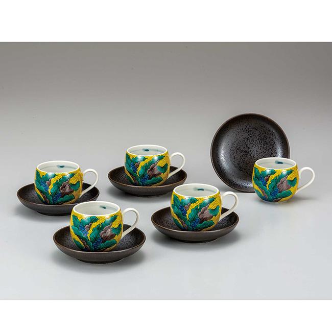 九谷焼 コーヒーセット 吉田屋おもと 5個セット 5客 カップ ソーサー 碗皿 コーヒー 紅茶 食器セット 日本製 ギフト うつわ 陶磁器