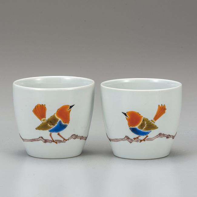 九谷焼 ペアフリーカップ こまどり 2個セット 焼酎 日本酒 冷酒 酒器 食器セット 日本製 ギフト うつわ 陶磁器