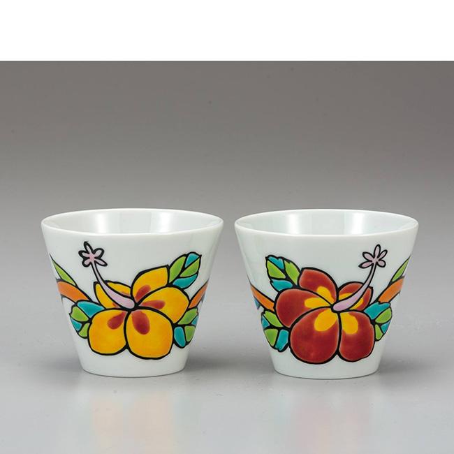 九谷焼 ペア焼酎カップ 彩・ハイビスカス 2個セット ロックカップ 焼酎 日本酒 冷酒 酒器 フリーカップ 食器セット 日本製 ギフト うつわ 陶磁器