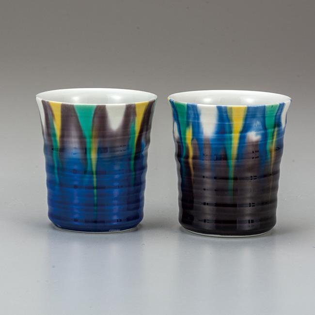 九谷焼 ペア焼酎カップ 釉彩 2個セット ロックカップ 焼酎 日本酒 冷酒 酒器 フリーカップ 食器セット 日本製 ギフト うつわ 陶磁器