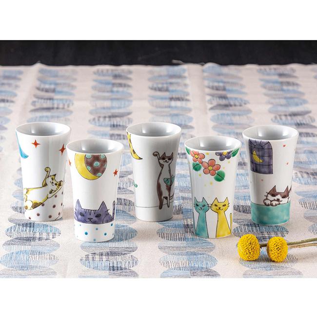 九谷焼 フリーカップセット ねこづくし 5個セット 湯呑 食器セット 日本製 ギフト うつわ 陶磁器