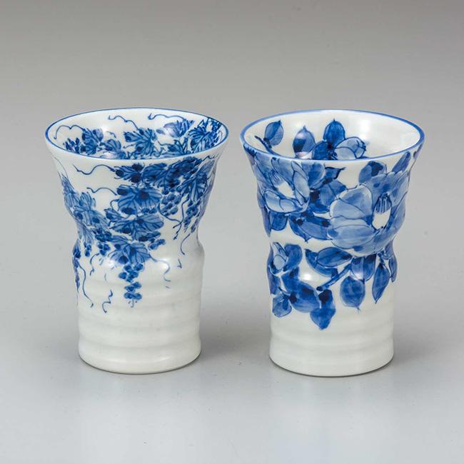 九谷焼 ペアフリーカップ 椿/野ぶどう 2個セット 焼酎 日本酒 冷酒 酒器 食器セット 日本製 ギフト うつわ 陶磁器